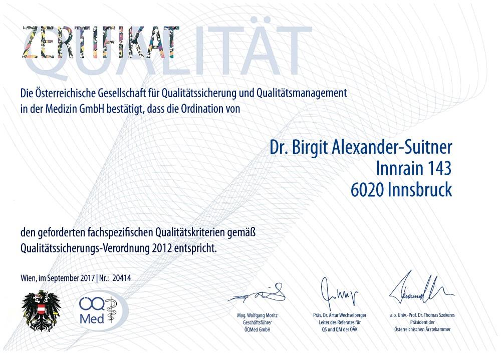 Zertifikat Dr Birgit Alexander-Suitner Web